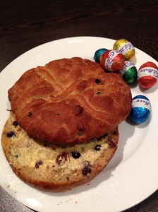 Easter Time! I finally got to try a gluten free hot cross bun :)