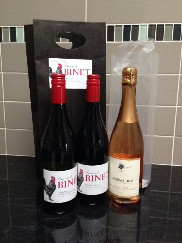 Wines purchased in the Hunter Valley in Winter 2014
