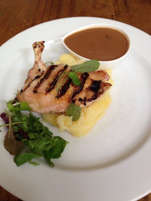 Lunch stop for Hunter Valley Wine Tour - Gluten Free Grilled Chicken and Mash