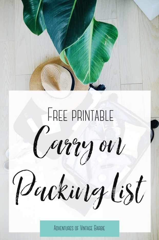 Free Printable Carry on Packing List