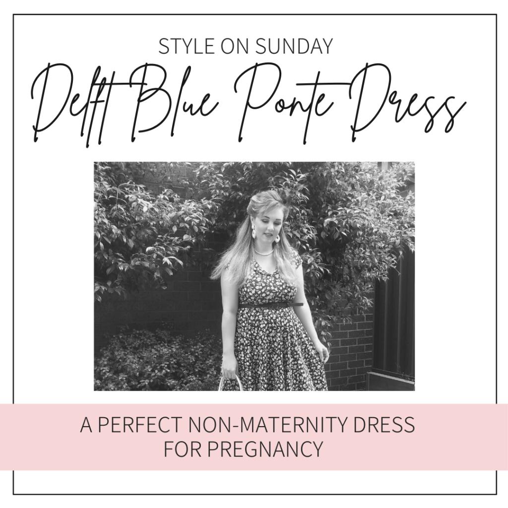 Delft blue Ponte dress a perfect non-maternity dress for pregnancy