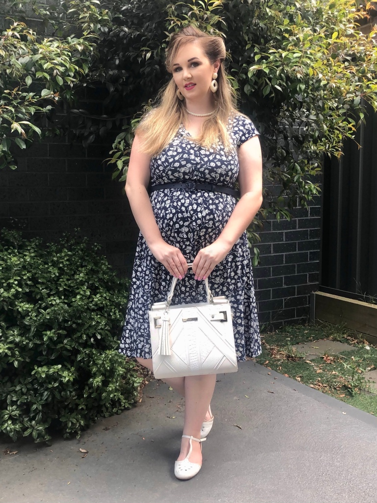 Delft blue Ponte dress a perfect non-maternity dress for pregnancy